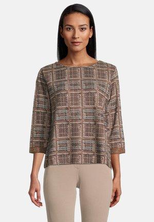 Sweater - blau/camel