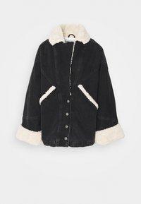 BORG CAR COAT - Denim jacket - black