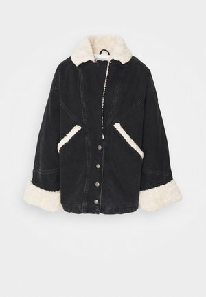 BORG CAR COAT - Giacca di jeans - black