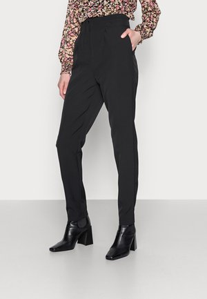 HIGH WAIST BUTTON DETAIL TROUSER - Kangashousut - black