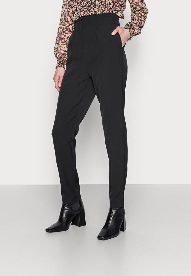 HIGH WAIST BUTTON DETAIL TROUSER - Pantalon classique - black