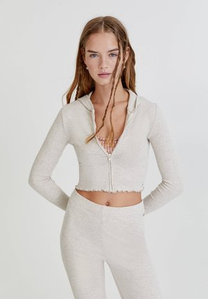 Zip-up sweatshirt - mottled beige