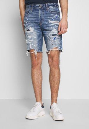 CUTTOFF RIGID - Denim shorts - indigo splatter