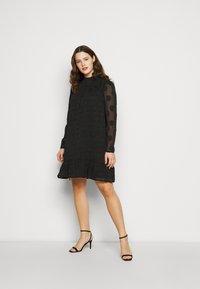 Missguided Plus - HIGH NECK FRILL HEM DRESS - Day dress - black - 1