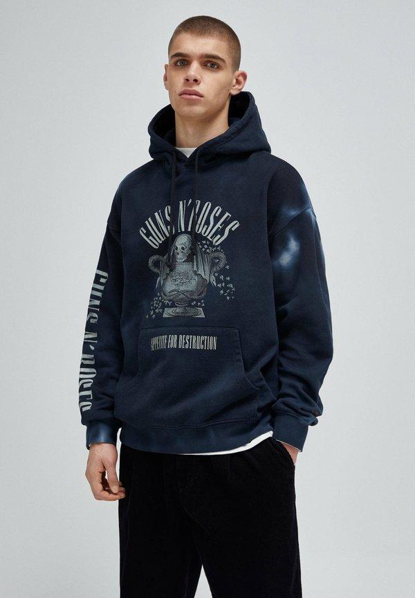 PULL&BEAR Bluza z kapturem - black/czarny Odzież Męska DVLZ