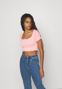 Missguided - SHIRRED CROP 2 PACK - Basic T-shirt - rose pink/grey - 3