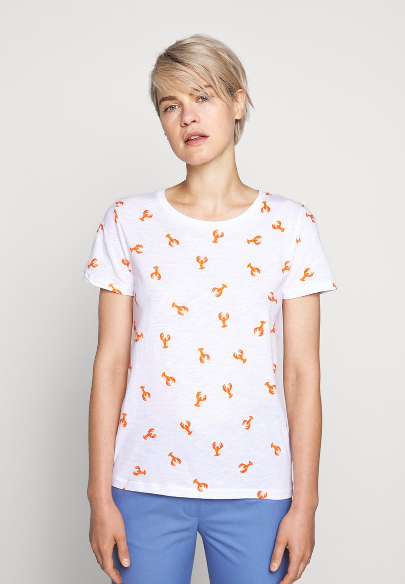 J.CREW - ALLOVER LOBSTER TEE - Print T-shirt - ivory bright/persimmon