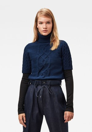 CABLE TURTLE HALF SLEEVE - Jumper - sartho blue