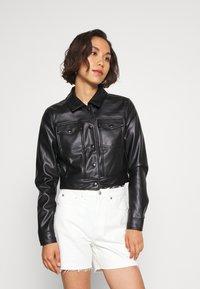 ONLY - ONLVIBE TRUCKER JACKET - Faux leather jacket - black - 0