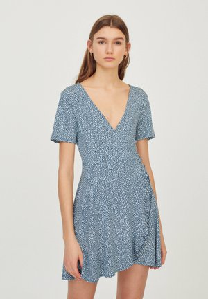 Korte jurk - stone blue denim