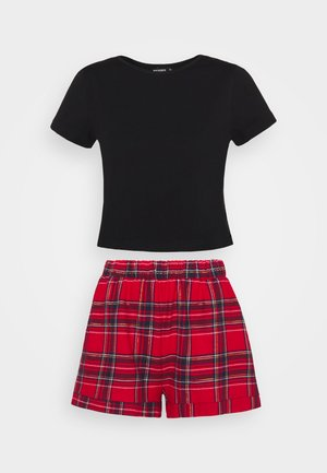 CROP TEE AND SHORTS SET - Pyjamas - red