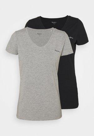BEA 2 PACK - Basic T-shirt - black/grey