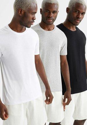 3 PACK - Basic T-shirt - grey/white/black
