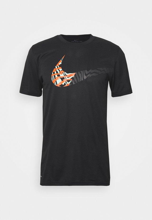 LEG TEE - T-shirt z nadrukiem - black