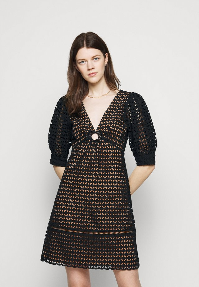 GEO EYELET MINI DRESS - Korte jurk - black