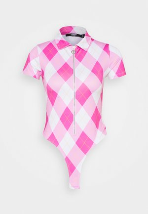 SHORT SLEEVE WITH COLLAR & ZIP DIAMOND CHECK - Triko s potiskem - pink