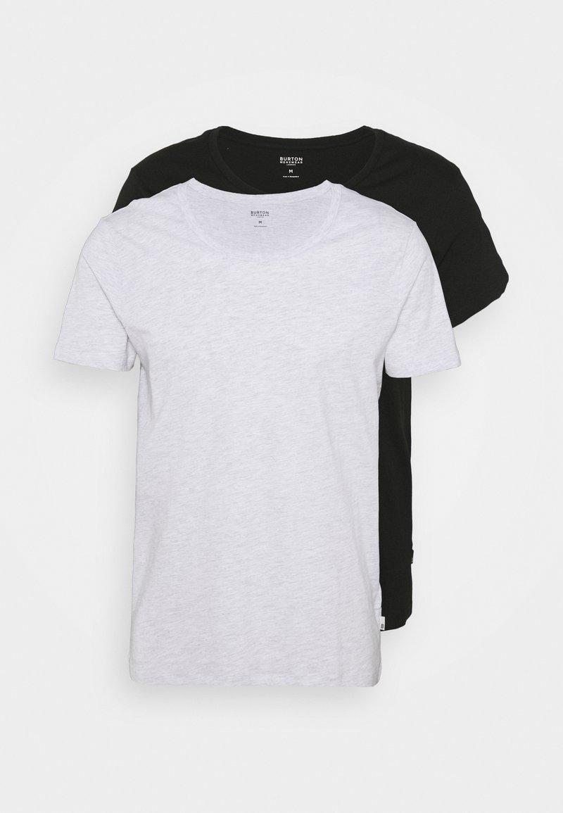 Burton Menswear London - SCOOP 2 PACK - T-shirt basic - black/grey