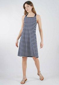 Armor lux - Jersey dress - marine deep/blanc - 0