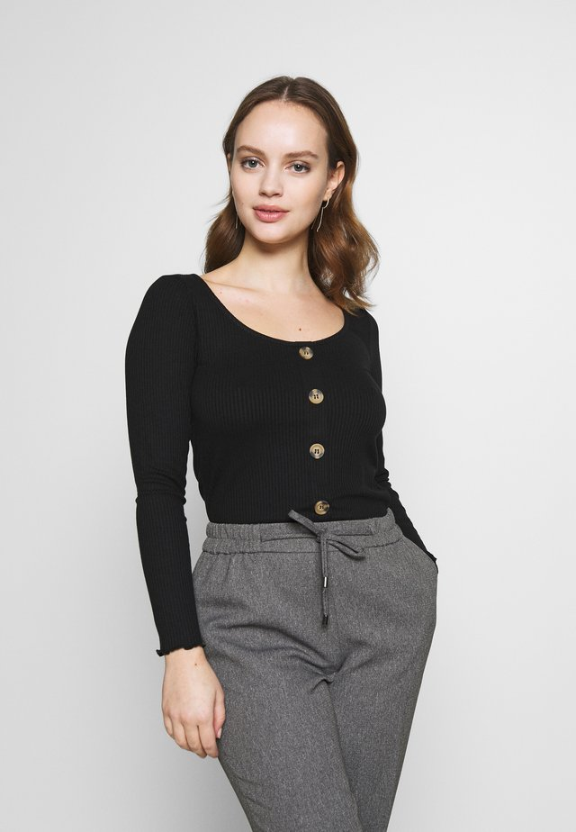 PETITES LONG SLEEVE BUTTON THROUGH - Pitkähihainen paita - black