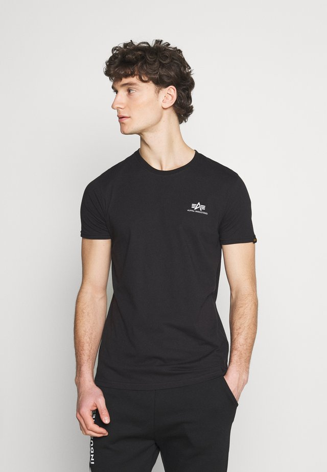 SMALL LOGO REFLECTIVE PRINT - Basic T-shirt - black