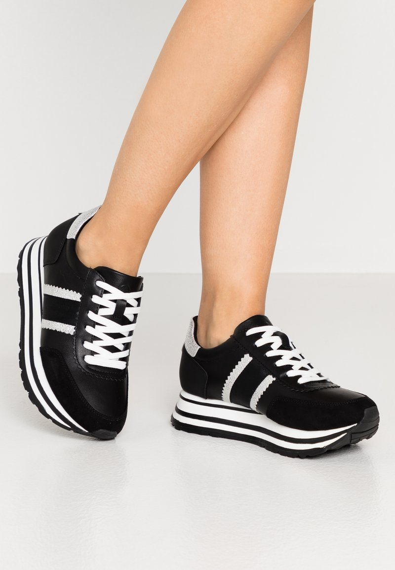 Tamaris - LACE UP - Trainers - black/silver