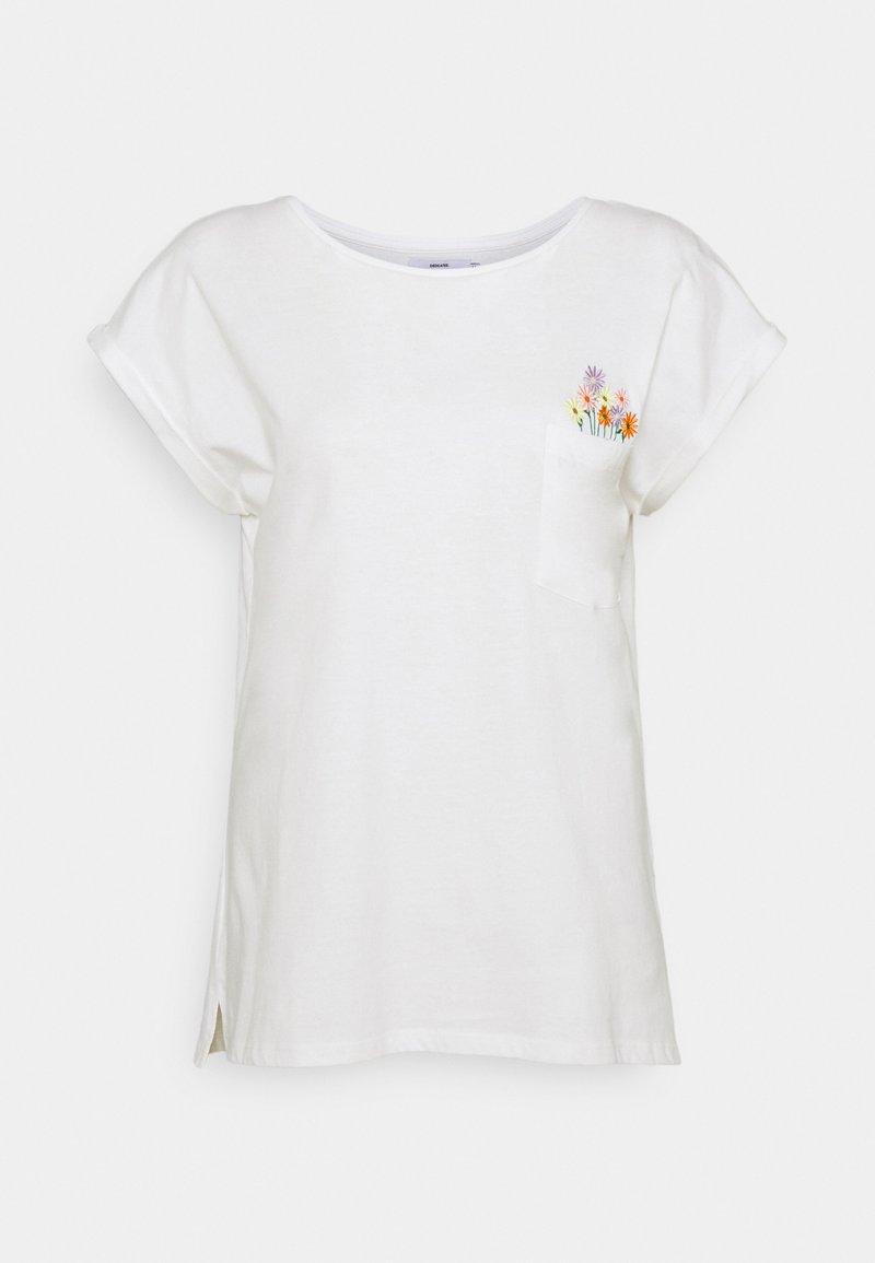 Dedicated - VISBY FLOWER POCKET - Print T-shirt - offwhite