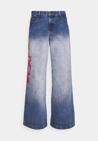 Jaded London - SKATER FIT TRIBAL PLACEMENT - Flared jeans - blue/ red - 3