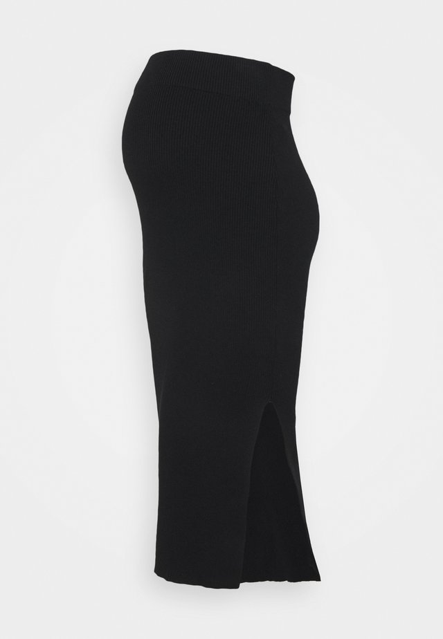 BODYCON MIDAXI SKIRT WITH FRONT SIDE SPLIT - Pencil skirt - black