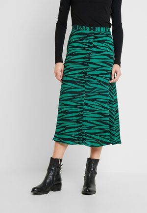 TIGER PRINT BUTTON THROUGH SKIRT - A-linjainen hame - green/multi