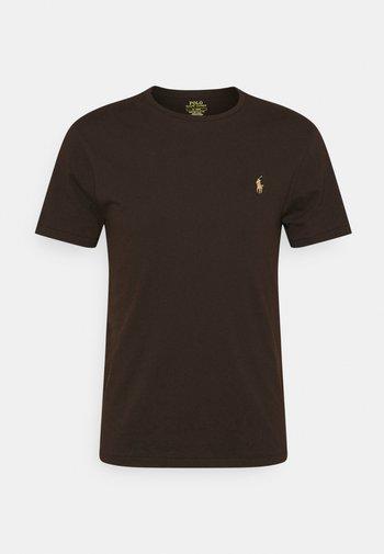 CUSTOM SLIM FIT JERSEY CREWNECK T-SHIRT - T-shirt basic - circuit brown