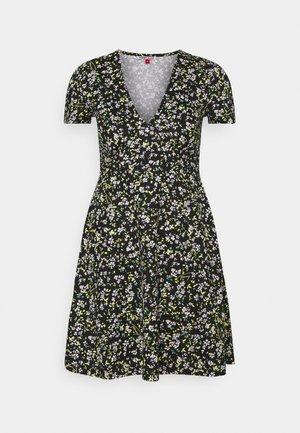 FLORAL DRESS - Jerseykjole - black/green