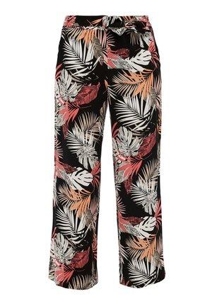 Trousers - black floral aop