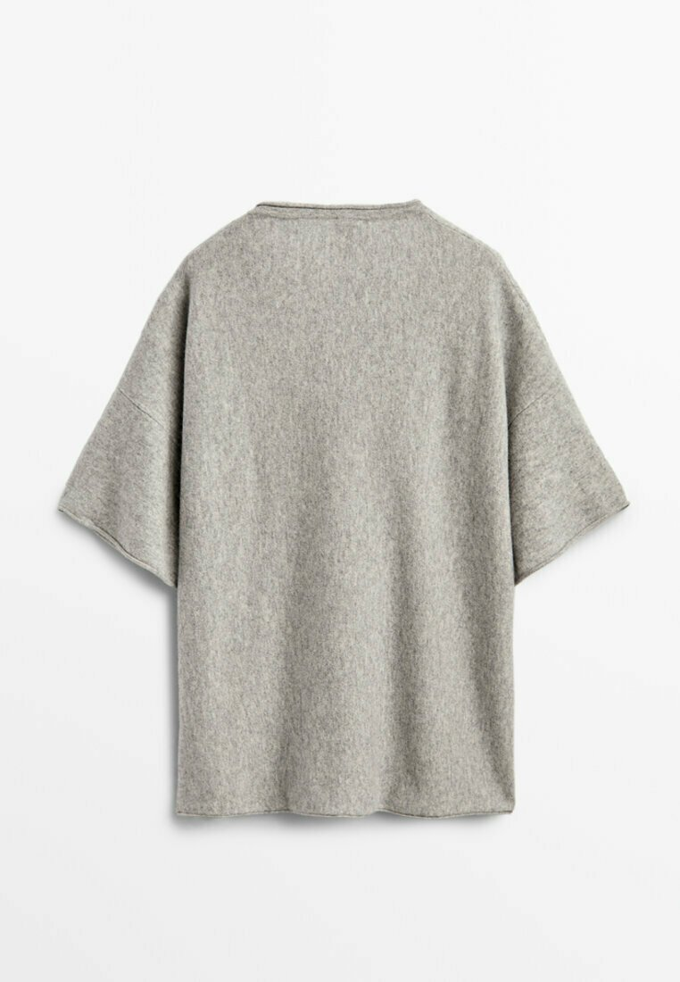Massimo Dutti - STRICKSHIRT  - Basic T-shirt - grey