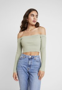 Missguided - NECK CROPPED JUMPER - Strickpullover - olive - 0