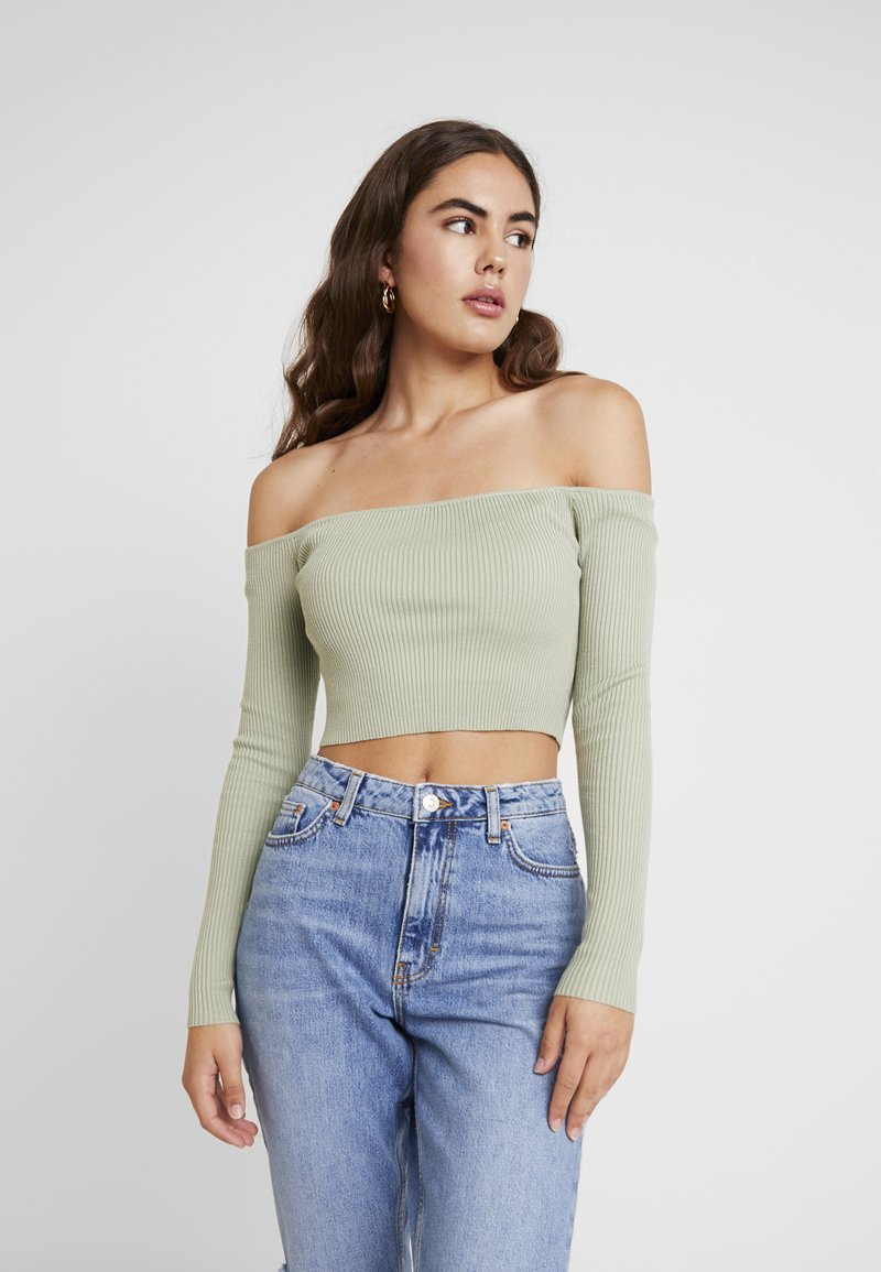 Missguided - NECK CROPPED JUMPER - Strickpullover - olive