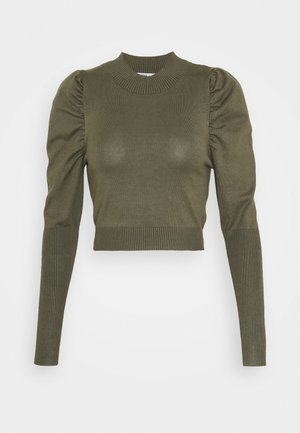 CROPPED JUMPER WITH PUFF LONG SLEEVES AND HIGH ROU - Trui - forest
