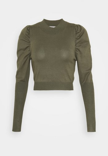 CROPPED JUMPER WITH PUFF LONG SLEEVES AND HIGH ROU