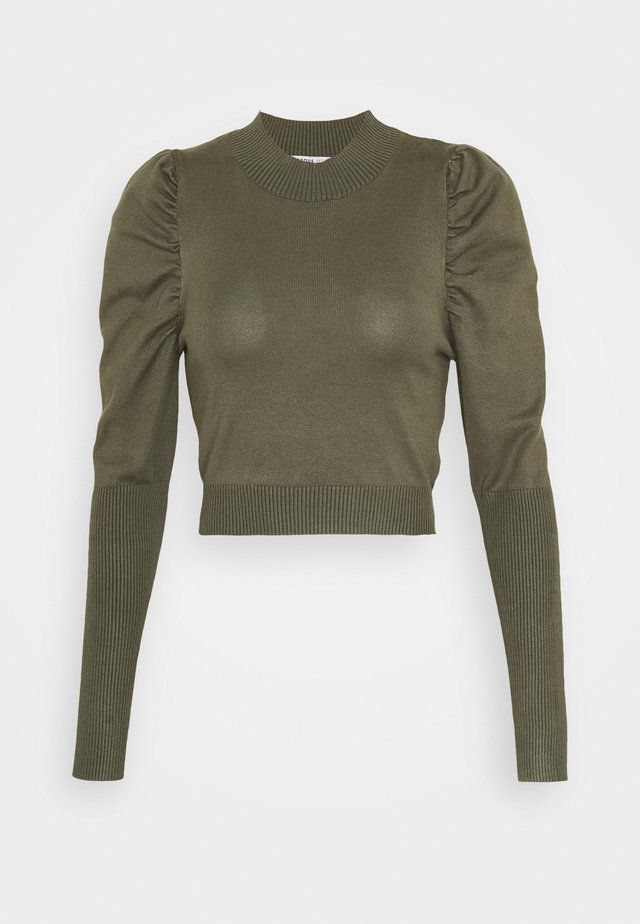 CROPPED JUMPER WITH PUFF LONG SLEEVES AND HIGH ROU - Jumper - forest