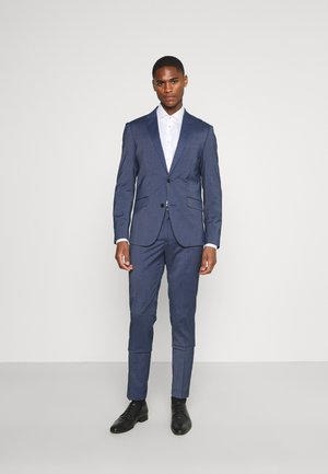 STRETCH GRID CHECK SUIT - Costume - navy