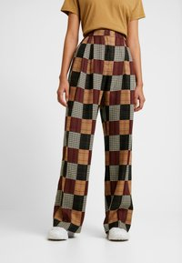 House of Holland - PATCHWORK WIDE LEG TROUSER - Trousers - red/blue/multi - 0
