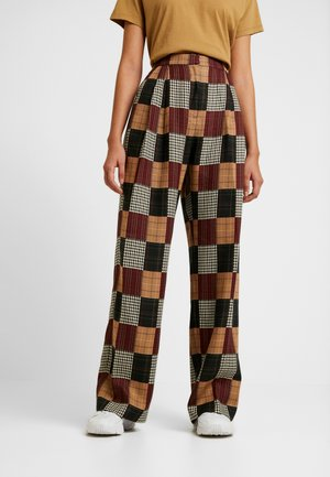PATCHWORK WIDE LEG TROUSER - Trousers - red/blue/multi