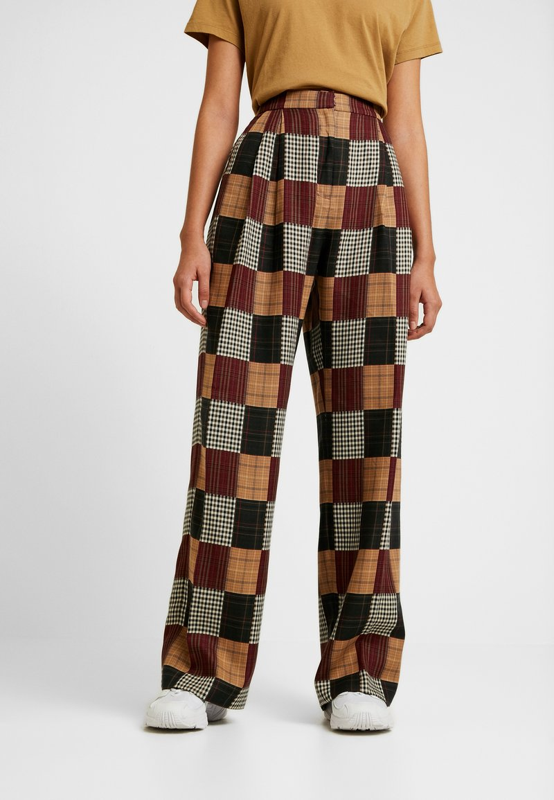 House of Holland - PATCHWORK WIDE LEG TROUSER - Trousers - red/blue/multi