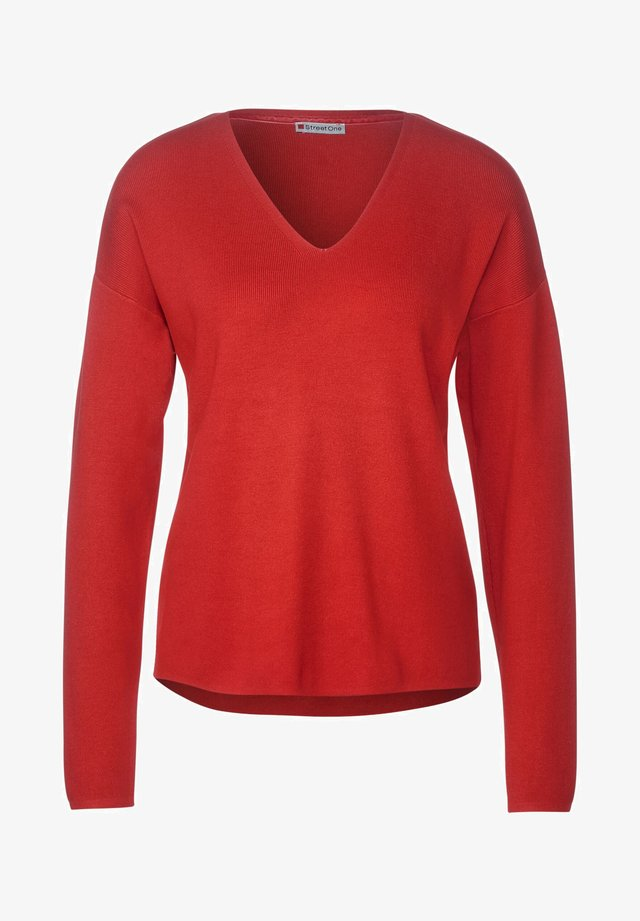 Softer in Unifarbe - Pullover - rot