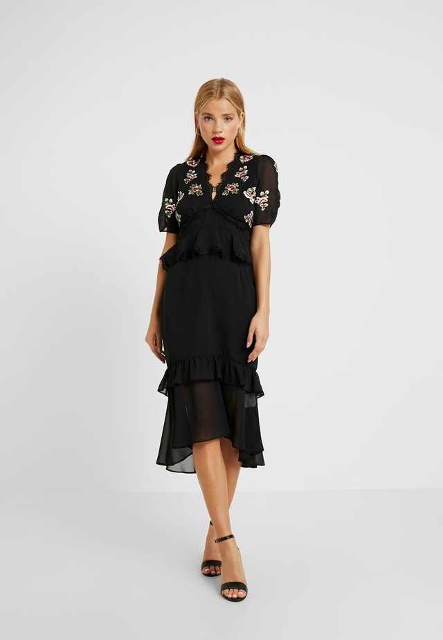 PEPLUM WAIST MIDI DRESS WITH  - Cocktailkjoler / festkjoler - black