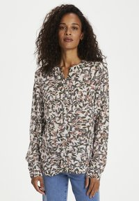 Kaffe - KANORA - Button-down blouse - tapioca/ ginger bread leaves - 0