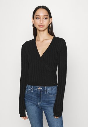 CROP WRAP FRONT - Sweter - black