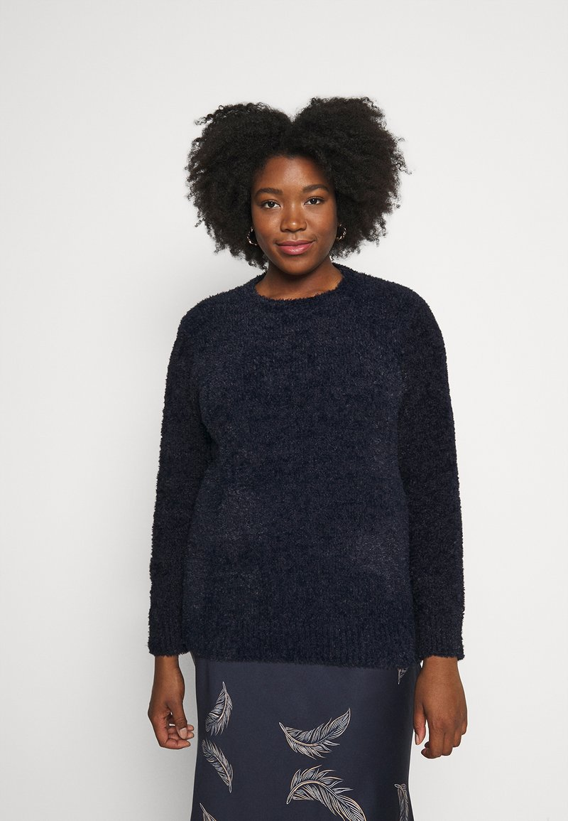 CAPSULE by Simply Be - TEDDY CREW NECK - Svetr - navy