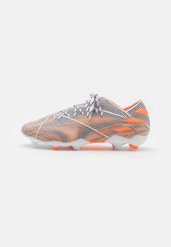 NEMEZIZ .1 FG UNISEX - Moulded stud football boots - footwear white/screaming orange/core black