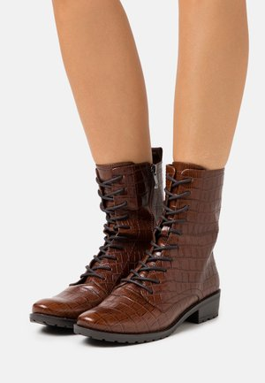 BOOTS - Lace-up ankle boots - cognac
