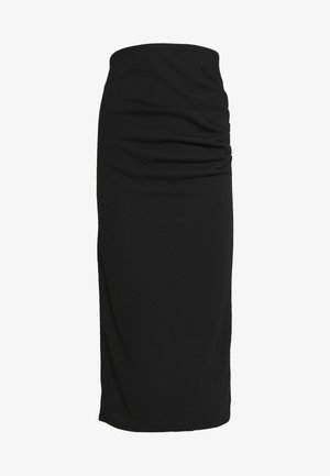 RUCHED MIDI SKIRT - Pencil skirt - black